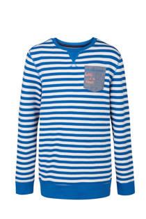WE Fashion sweater gestreept lichtblauw (jongens)