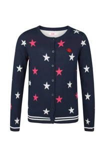 WE Fashion vest met sterrenprint marine (meisjes)