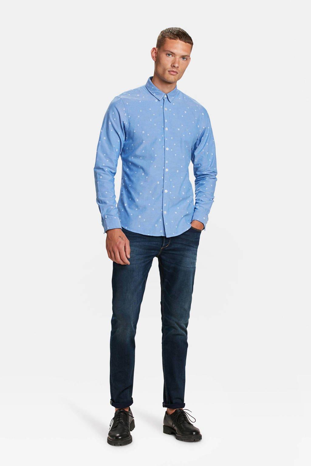 WE Fashion Blue Ridge slim fit overhemd met stippen lichtblauw, Lichtblauw