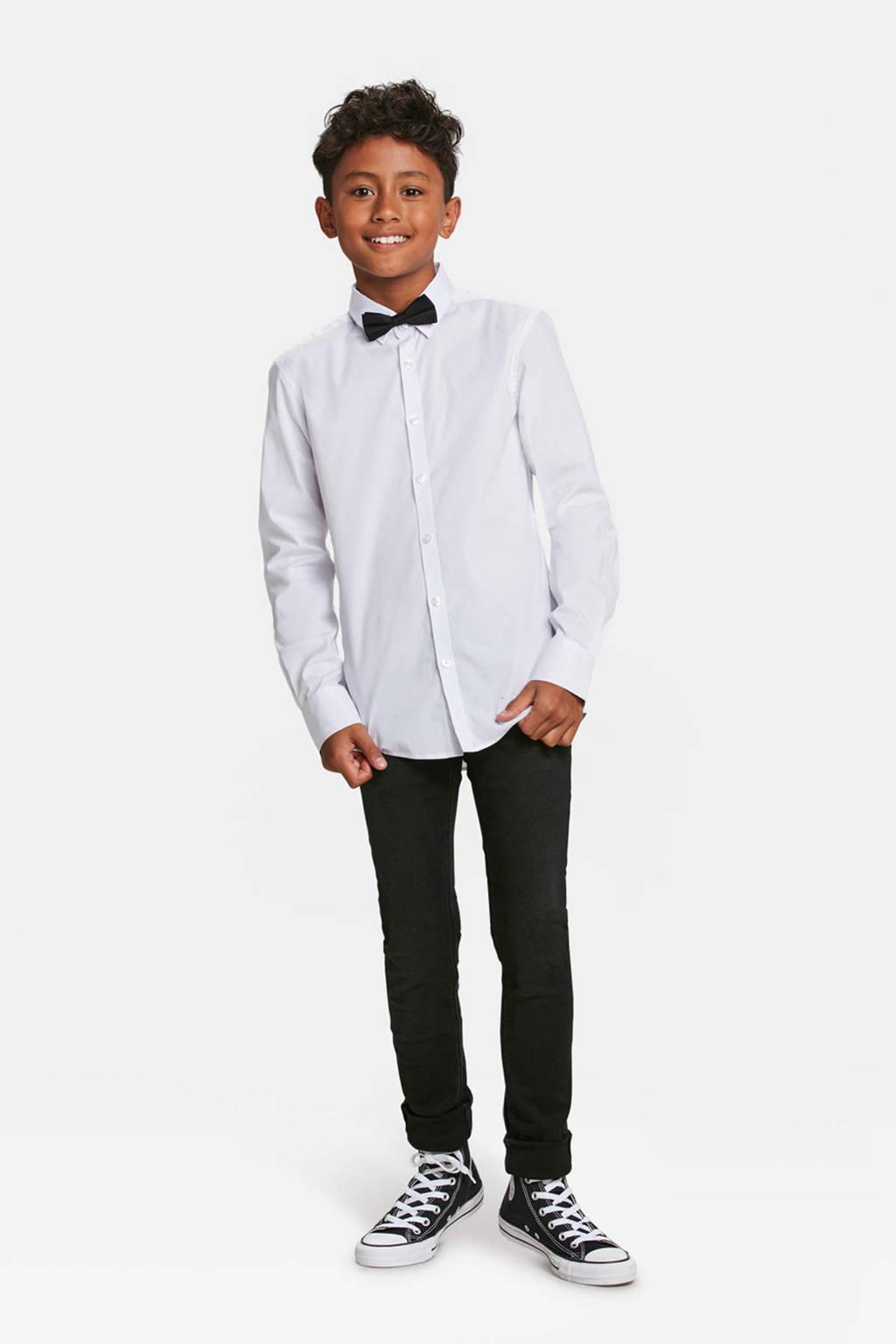 WE Fashion overhemd wit met vlinderstrik, Wit