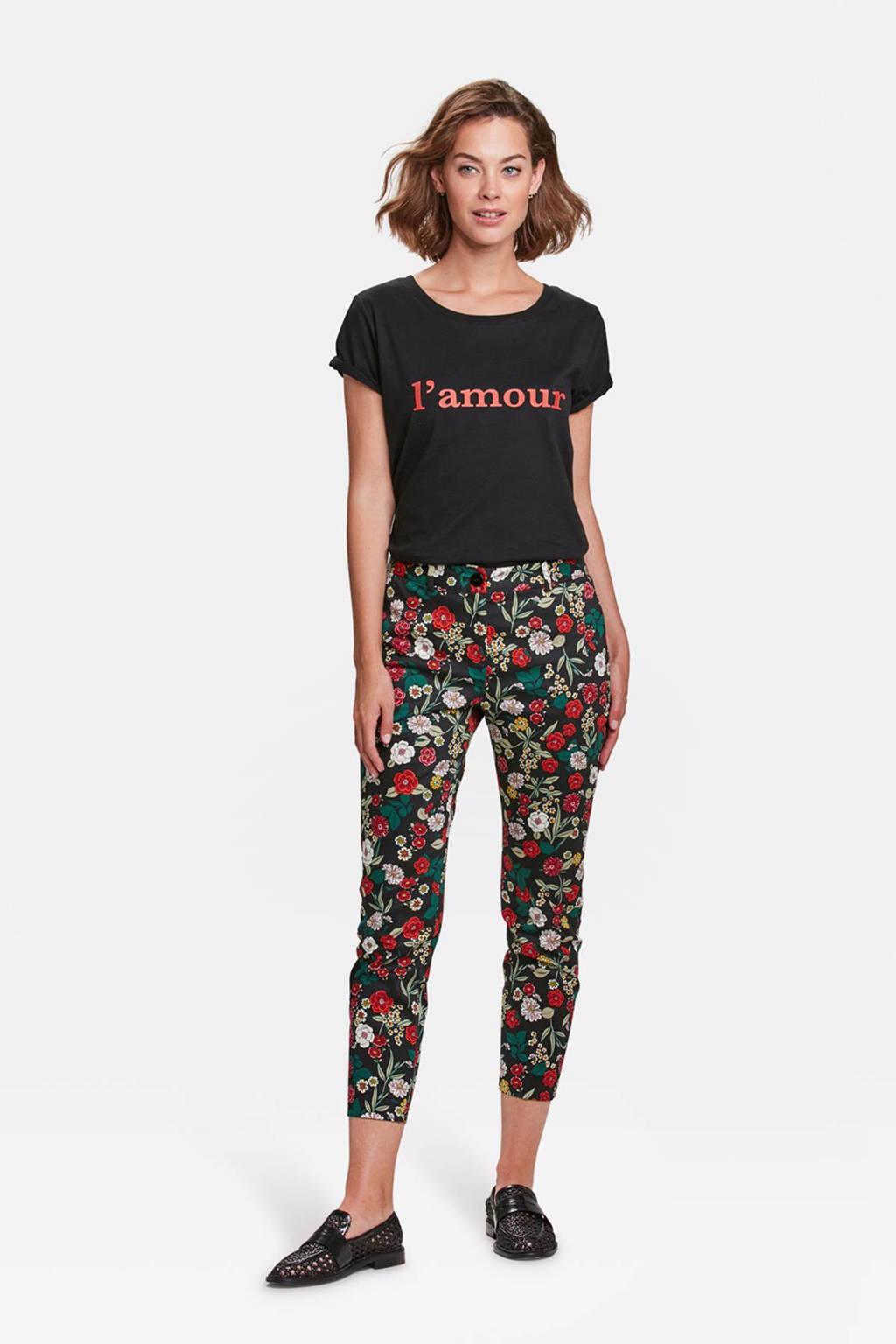 WE Fashion slim fit broek, Zwart