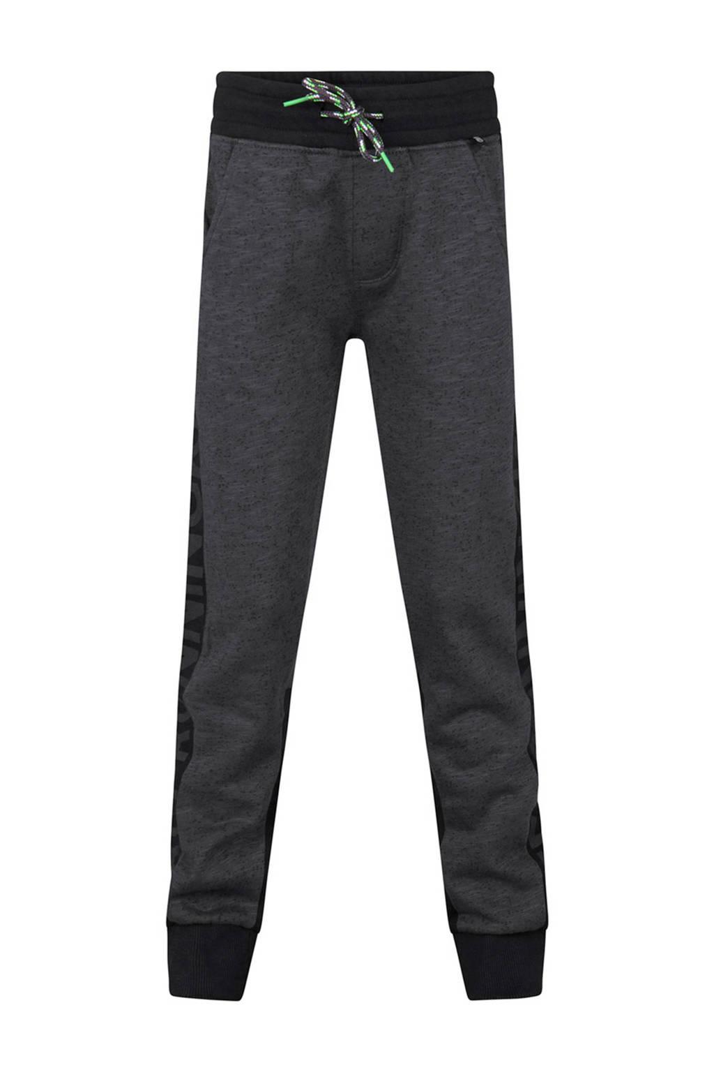 WE Fashion   tapered fit sweatpants met zijstreep antraciet, Antraciet/zwart