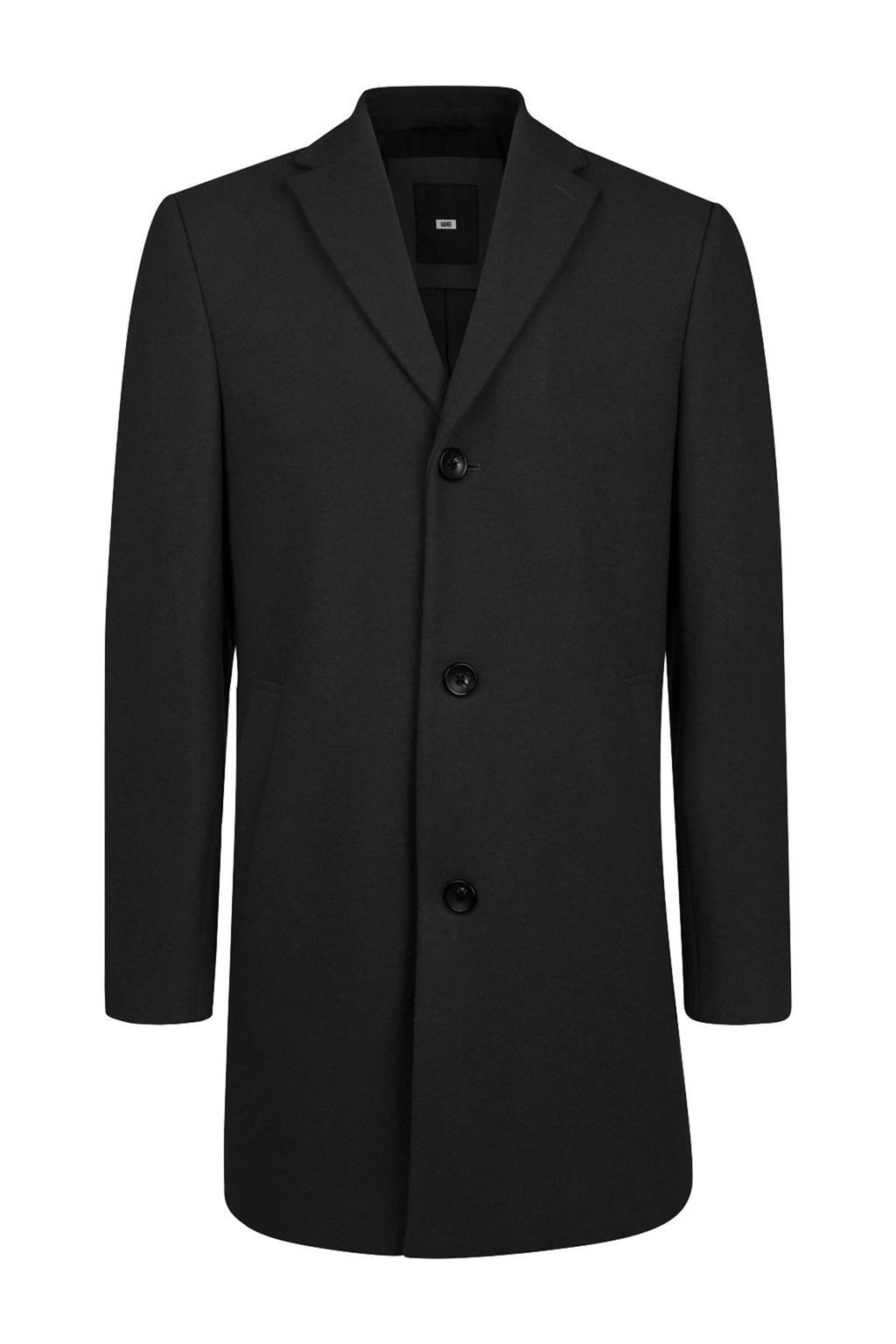 WE Fashion wollen coat zwart, Black Uni
