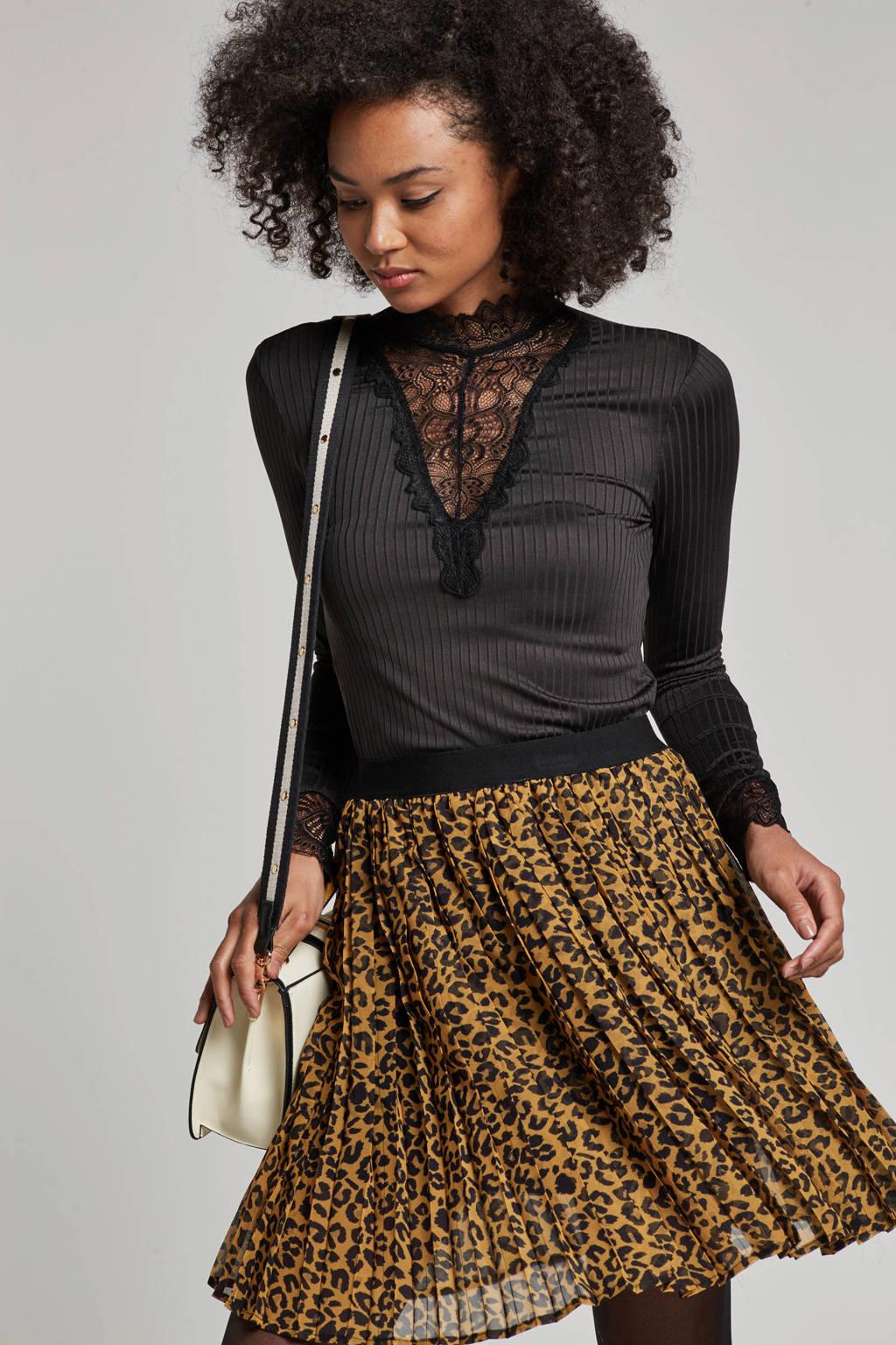 JACQUELINE DE YONG top met kantdetails, Zwart