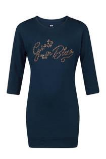 WE Fashion tuniek met metallic tekst donkerblauw (meisjes)