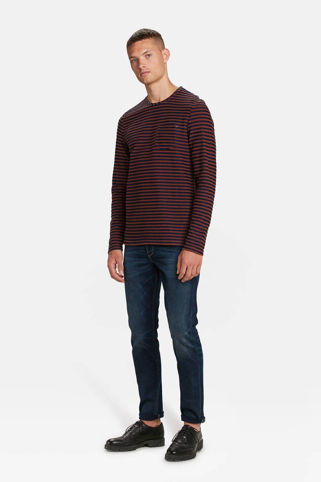 WE Fashion Blue Ridge gestreept T-shirt bruin/blauw, Bruin/blauw