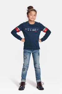 WE Fashion sweater met omkeerbare pailletten, Donkerblauw