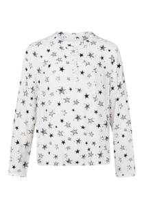 WE Fashion blouse met all over sterrenprint wit (meisjes)