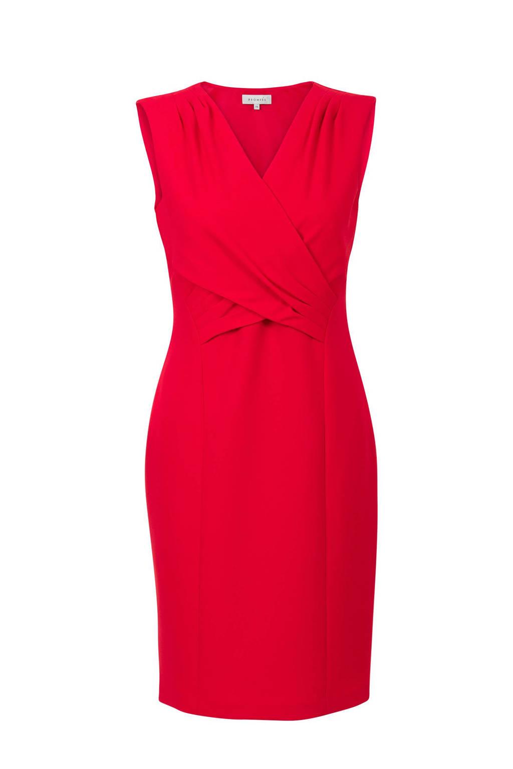 Promiss jurk met overslagdetail roze, Framboos roze