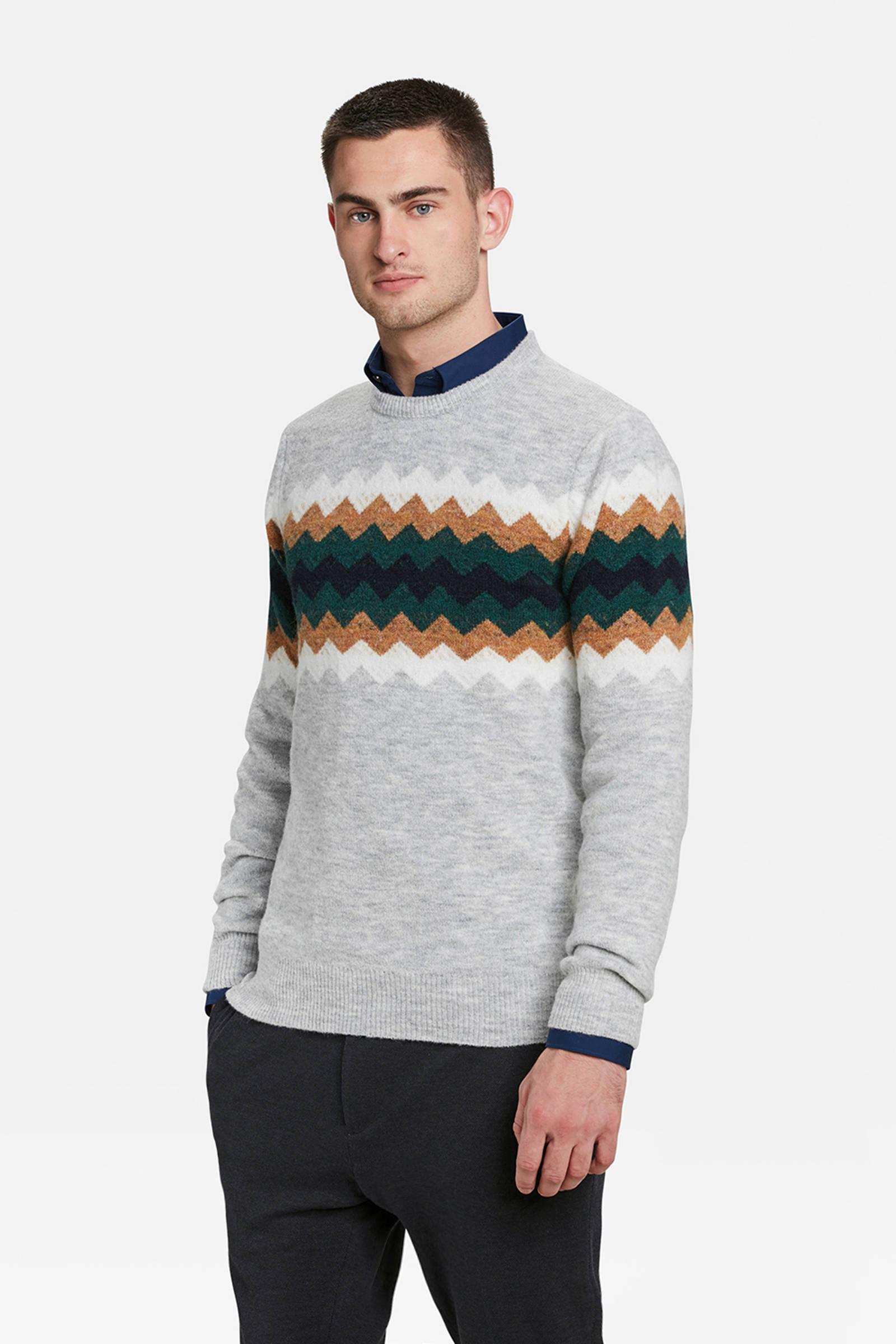 864fb155d5d WE Fashion jacquard trui met wol grijs   wehkamp