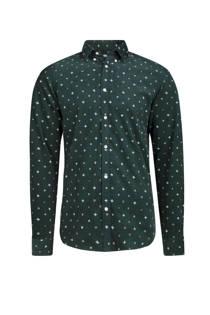 WE Fashion slim fit overhemd met print groen (heren)