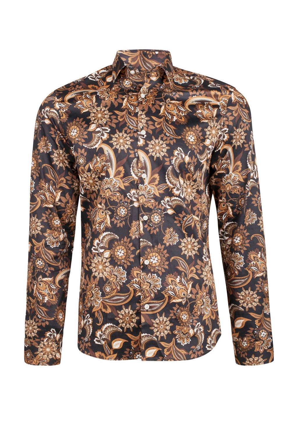 Bruin Overhemd.We Fashion Slim Fit Overhemd Bruin Wehkamp