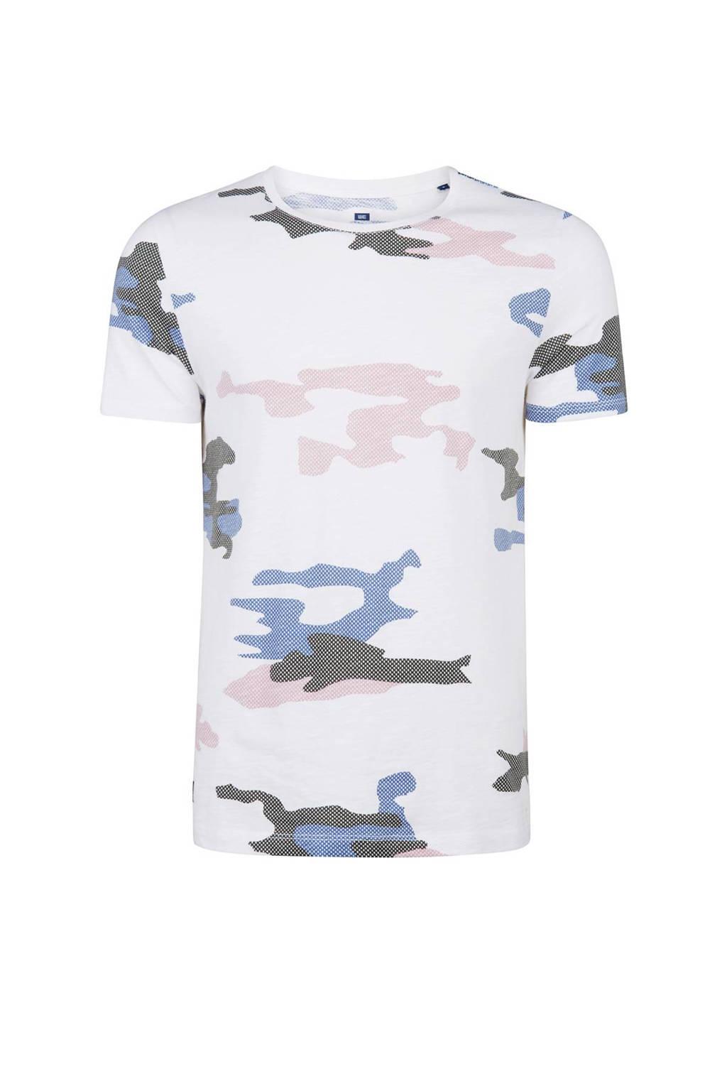 WE Fashion slim fit T-shirt camouflage, Wit/blauw/grijs