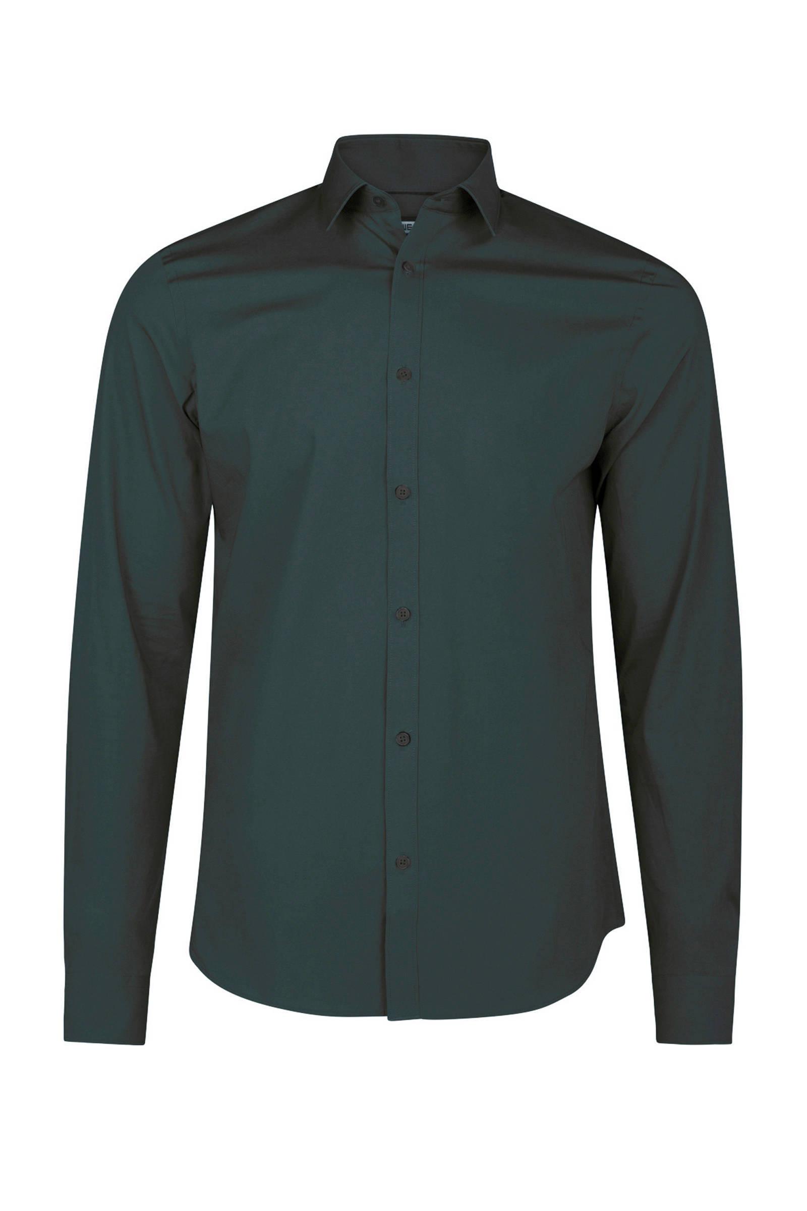 Donkergroen Overhemd.We Fashion Slim Fit Overhemd Donkergroen Wehkamp