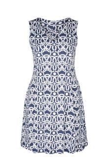jurk met all-over print blauw