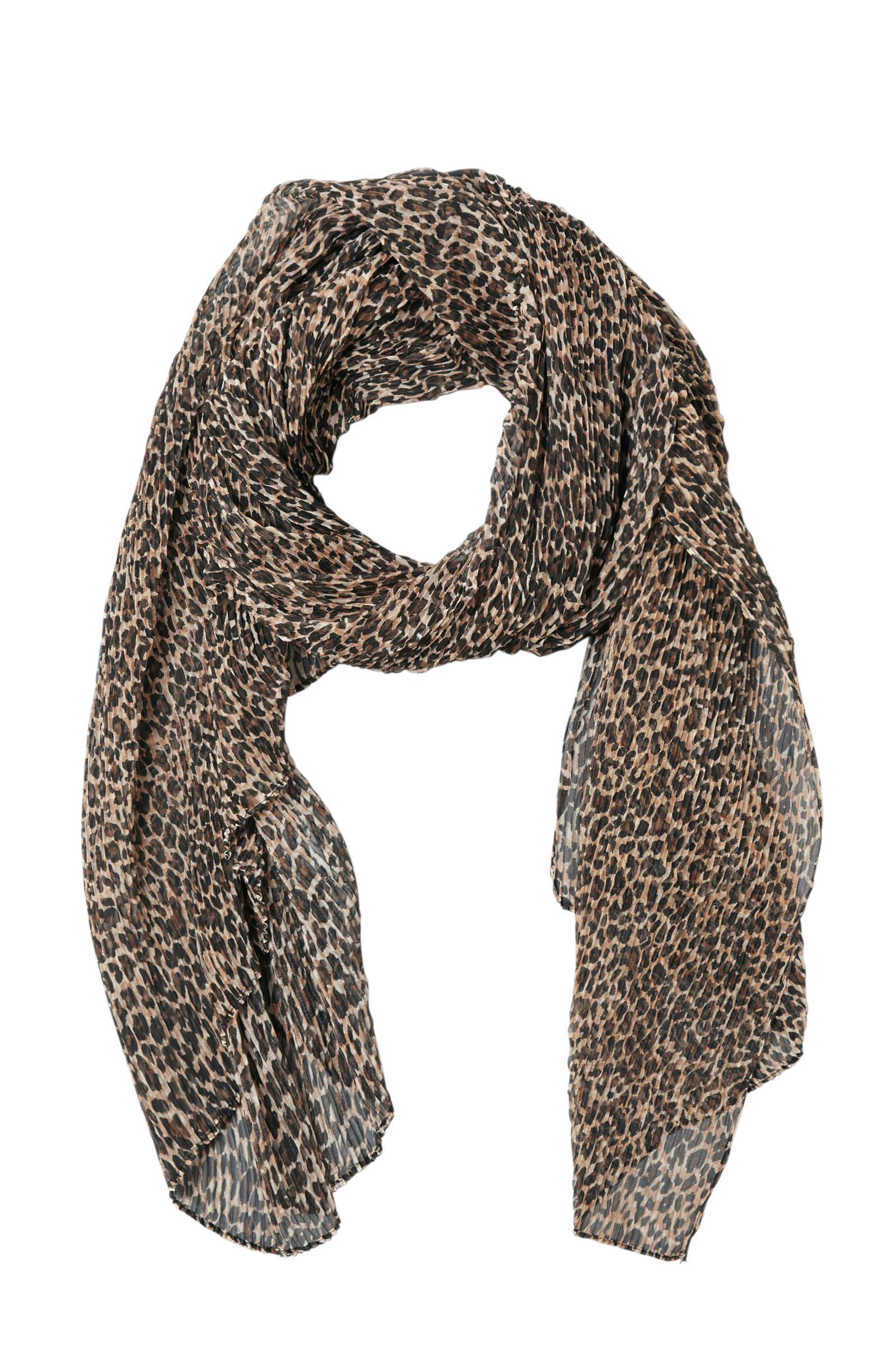 Pieces plissé sjaal met dierenprint