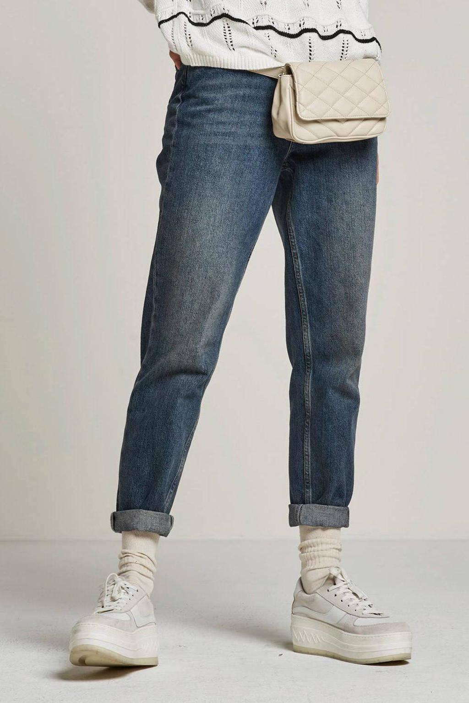 SELECTED FEMME high waist straight fit jeans SLFFRIDA medium blue denim, Blauw