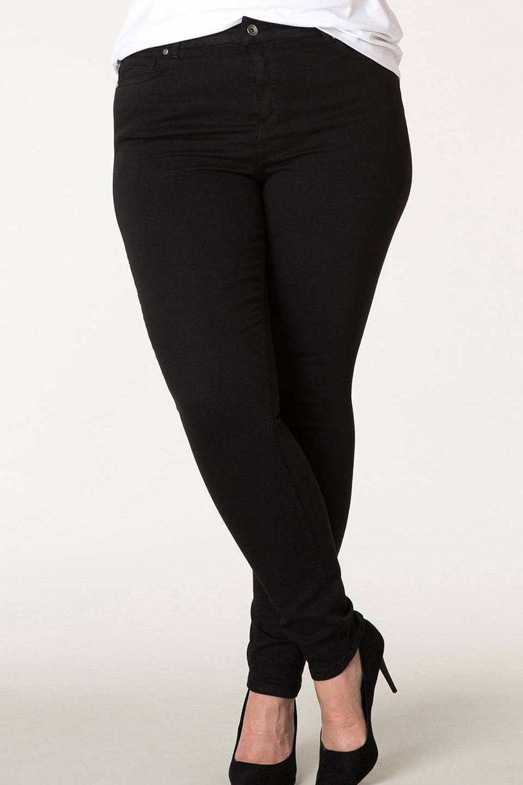 Yesta slim fit jeans Mella zwart, Zwart
