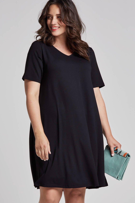 Yesta jurk met korte mouwen, Zwart