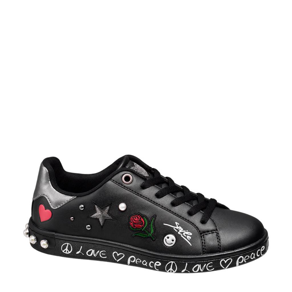 vanHaren Graceland  sneakers met patches zwart, Zwart