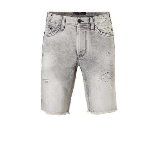 slim fit jeans short met slijtage grijs