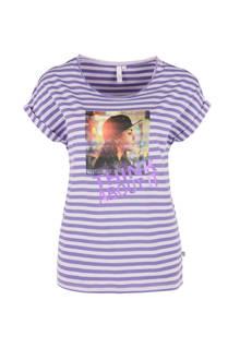 gestreept T-shirt met print paars