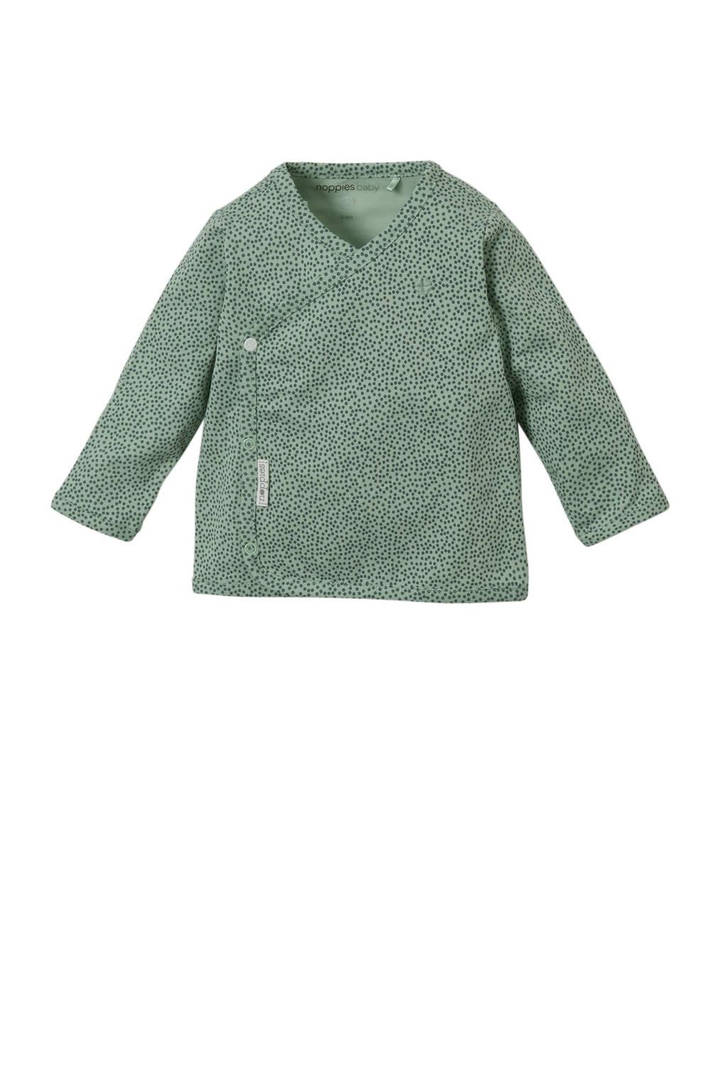 Noppies baby T-shirt Hannah met stippen mintgroen, Mintgroen/grijs