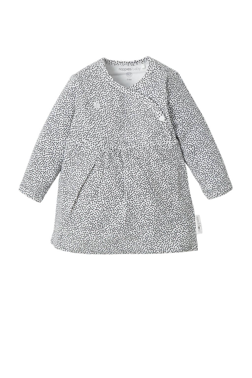 Noppies newborn baby jurk Mattie, wit/ zwart