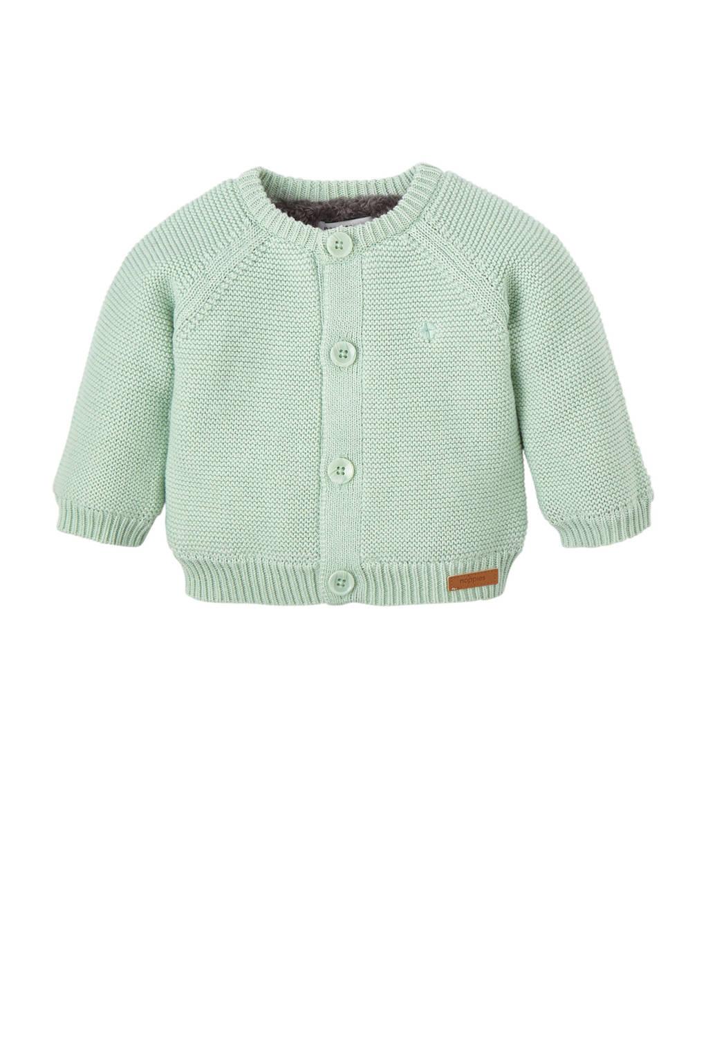 Noppies baby newborn gebreid vest, Mintgroen/antraciet