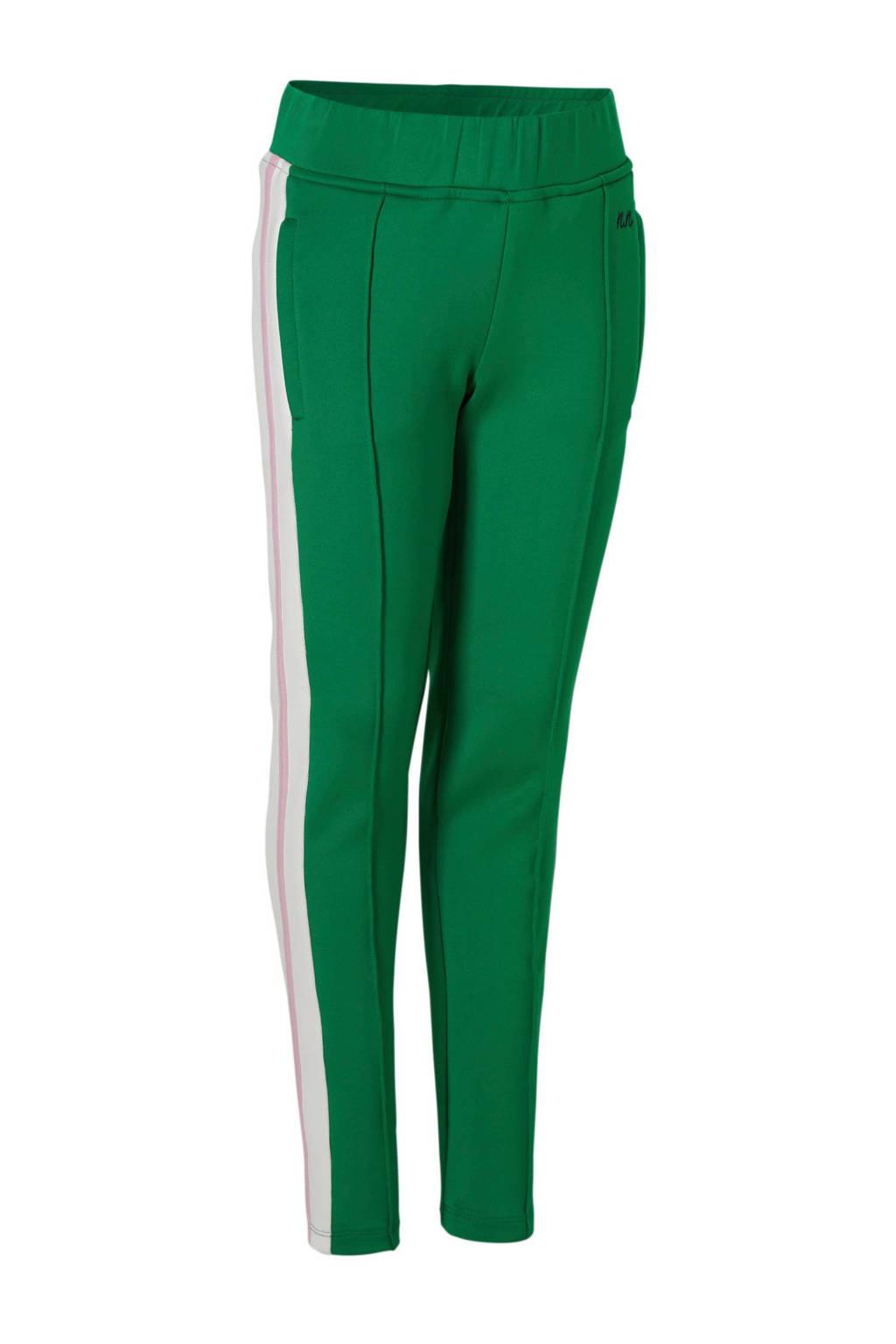 NIK&NIK sweatpants Flora met zij-streep groen, Groen/wit/lichtroze