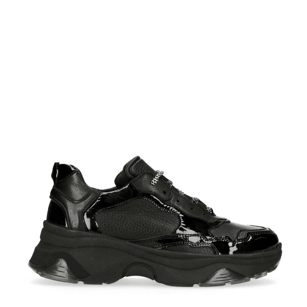 Sacha   leren sneakers met lak zwart, Zwart
