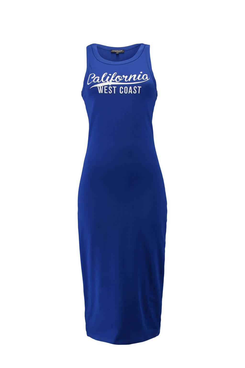 CoolCat maxi jurk met tekst blauw, Blauw