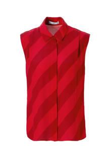 blouse met diagonale streep rood