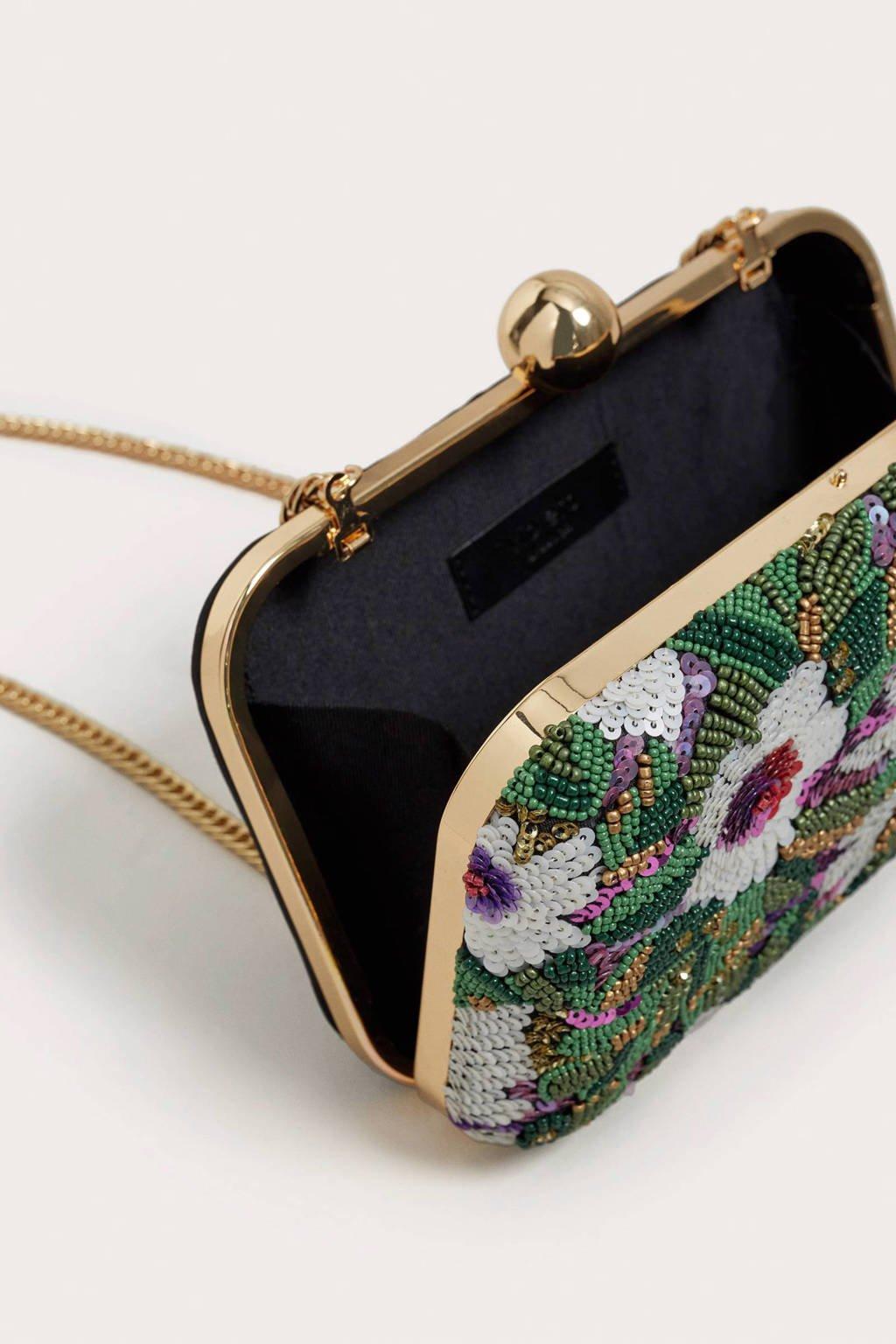 Violeta by Mango   crossbody tas met kralen groen, Groen/goud