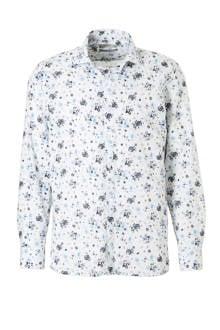 slim fit overhemd bloemenprint blauw