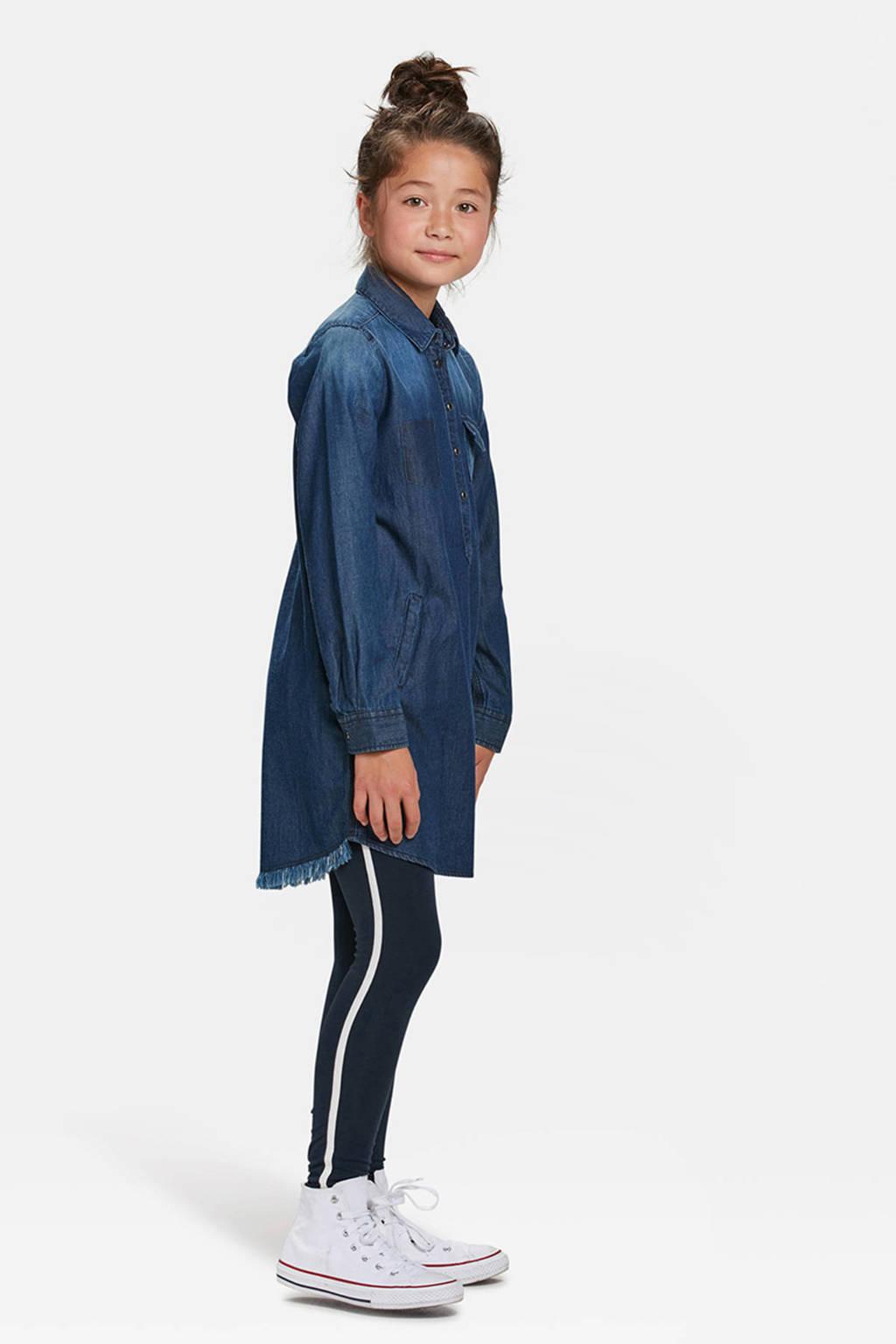 WE Fashion legging met zijstreep blauw, Donkerblauw/wit