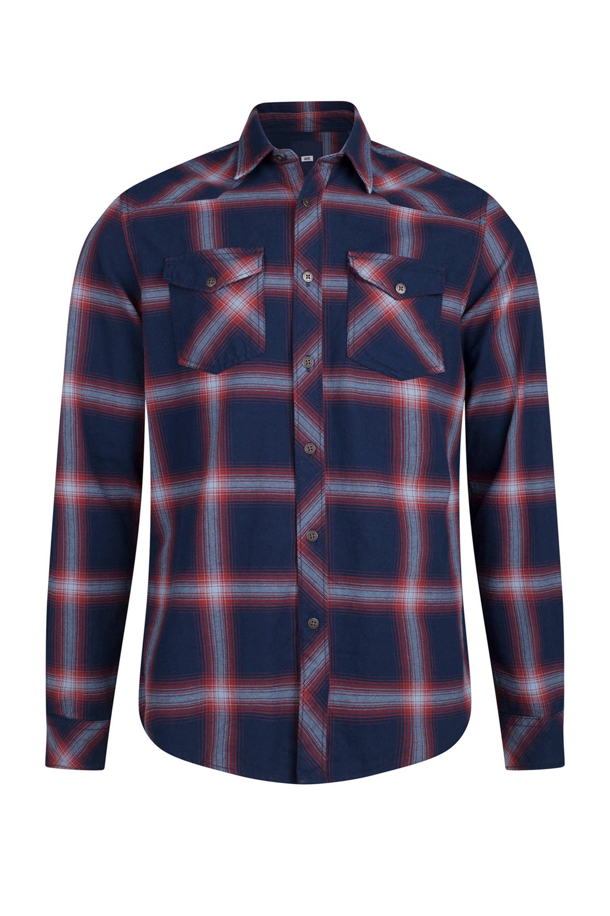 Geblokt Overhemd.We Fashion Geblokt Overhemd Donkerblauw Rood Wehkamp