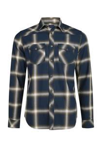 WE Fashion geblokt overhemd donkerblauw/kaki (heren)