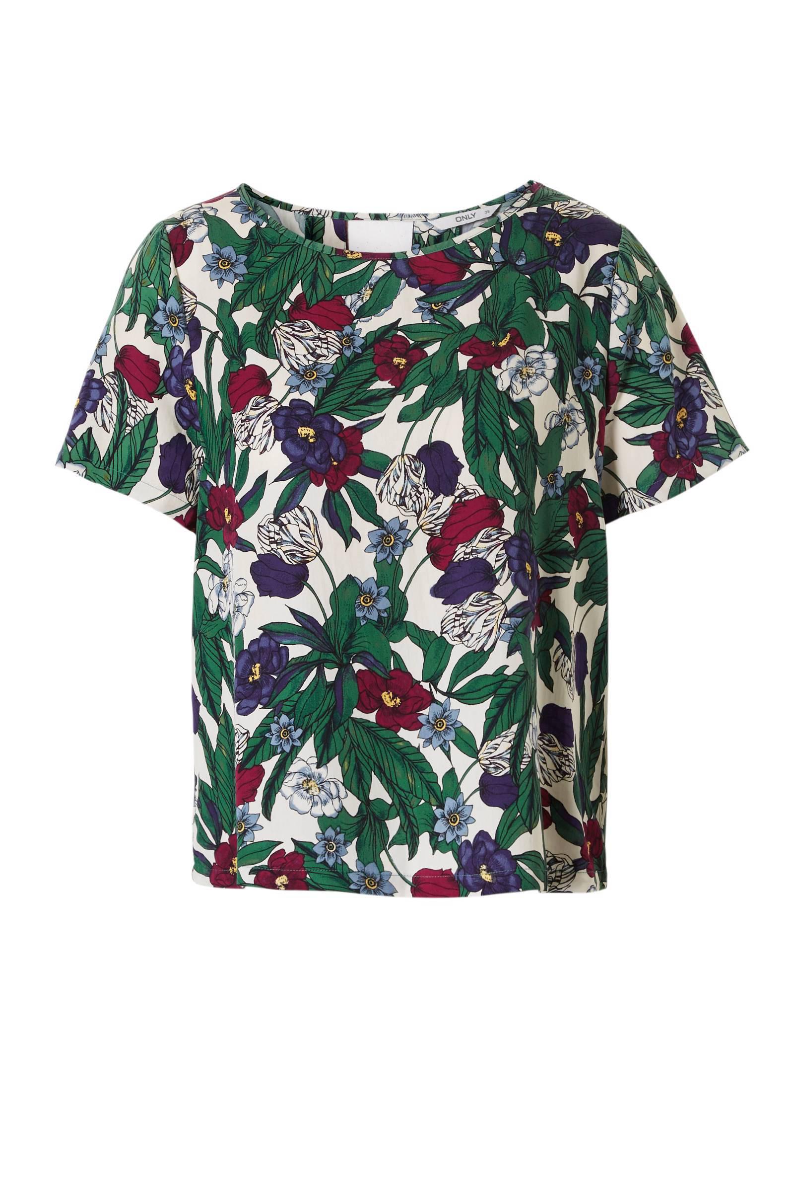 ONLY top met bloemenprint en rugdecolleté (dames)