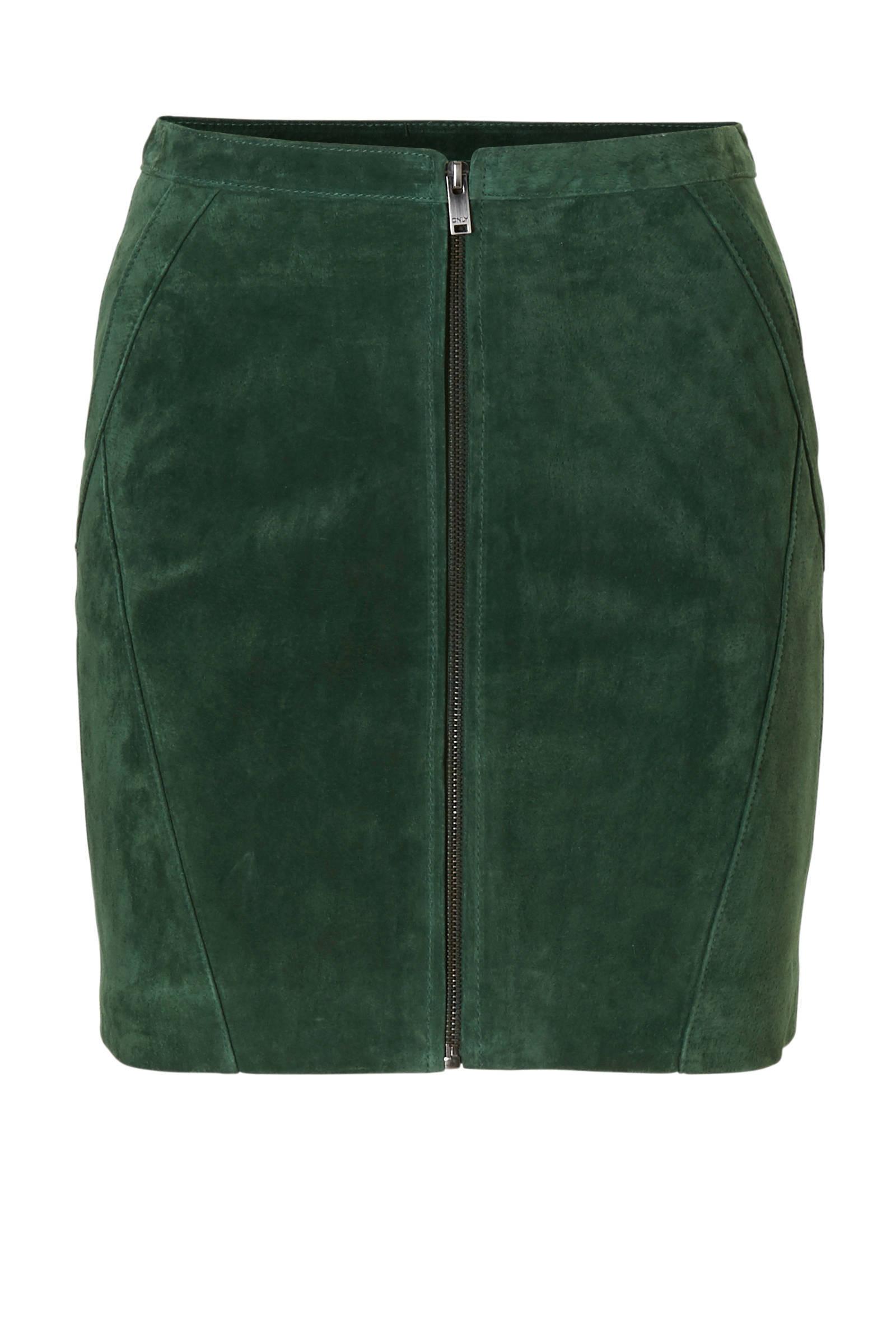 suede rok groen