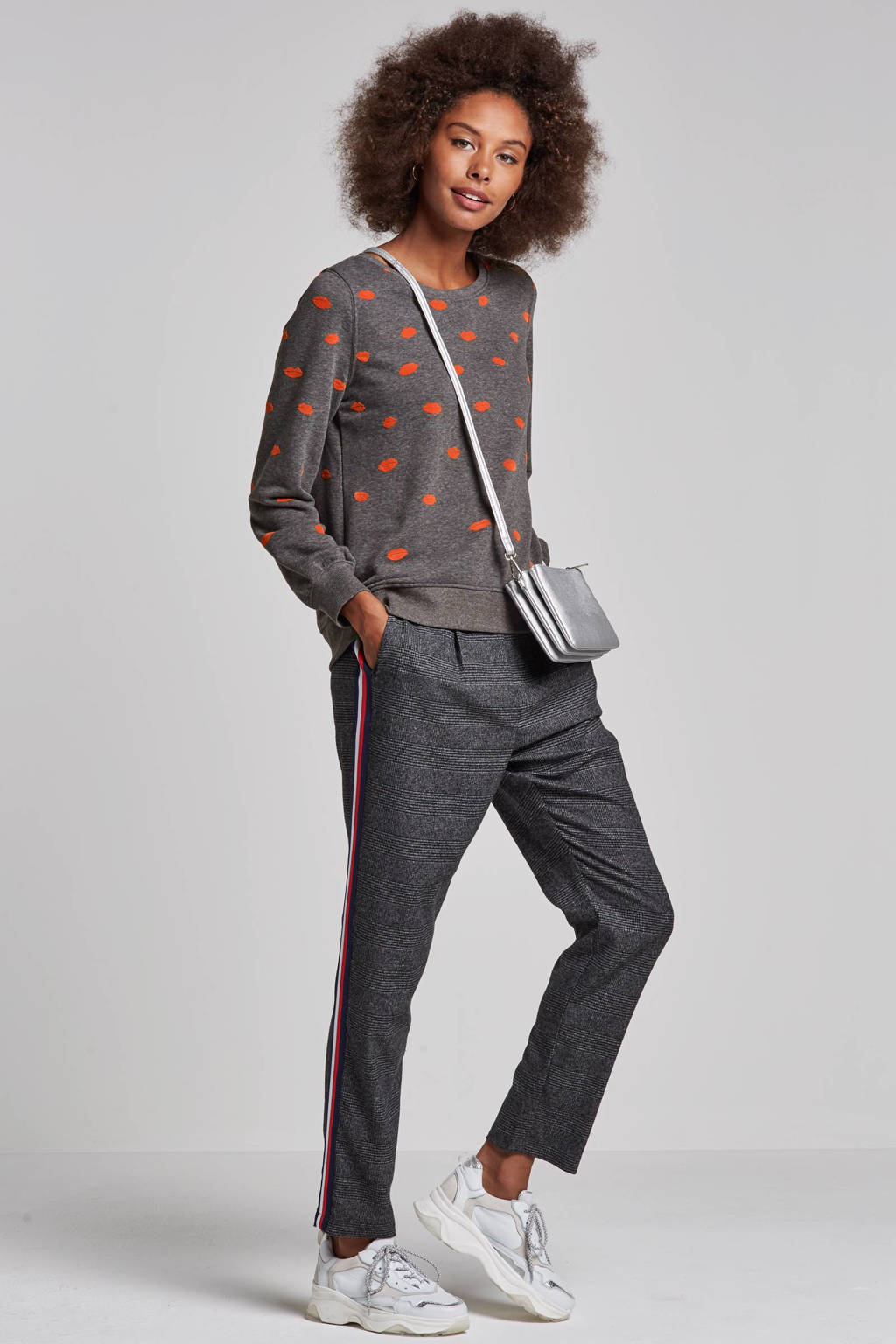 dd1338c81f5fe0 ONLY poptrash broek met zijstrepen, Grijs/wit/donkerblauw/rood