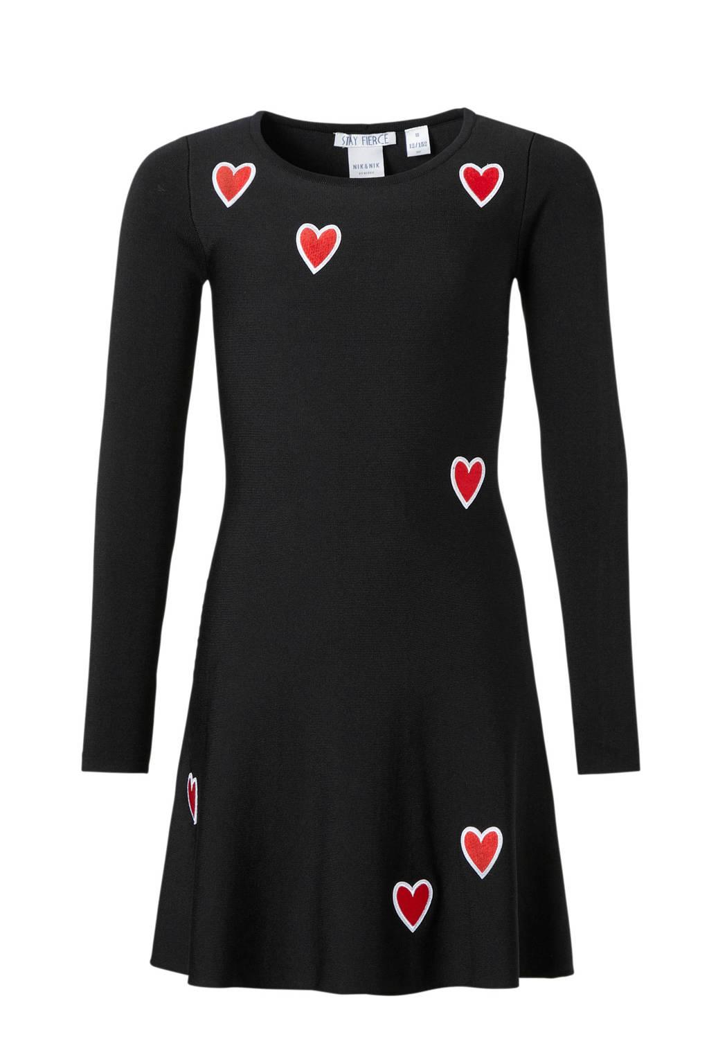 NIK&NIK jurk Rena zwart, Zwart/rood