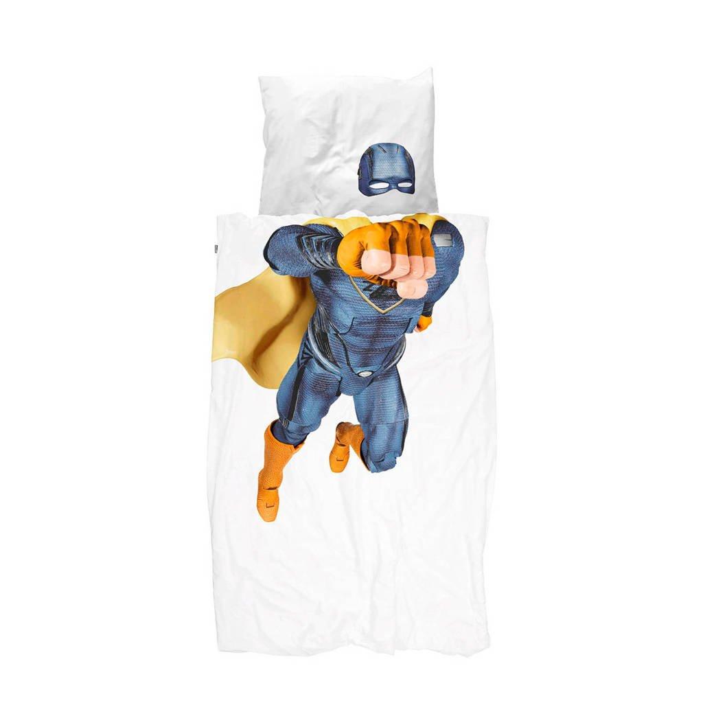 Snurk katoenen dekbedovertrek 1 persoons, Wit/blauw, 1 persoons (140 cm breed)
