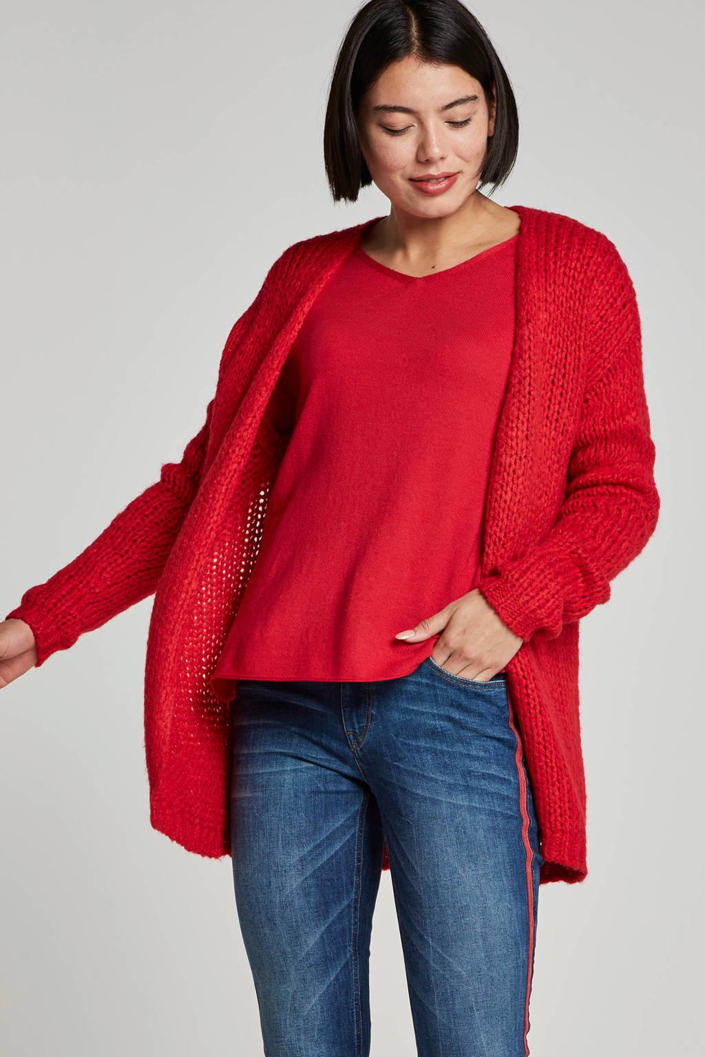 Geisha vest met wol, Rood