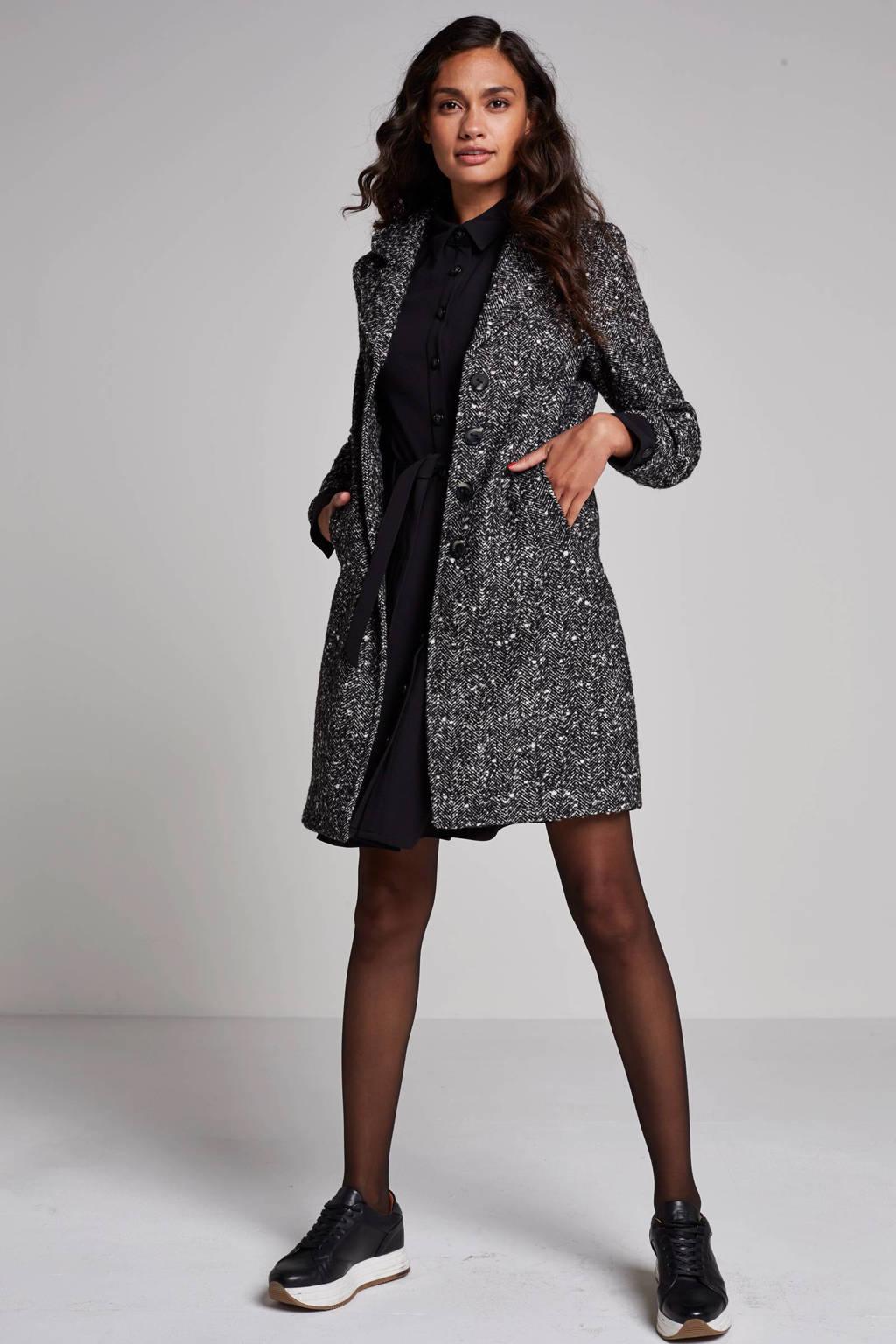 Geisha jas met wol, Grijs/zwart
