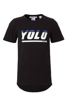 T-shirt Yolo met tekst zwart