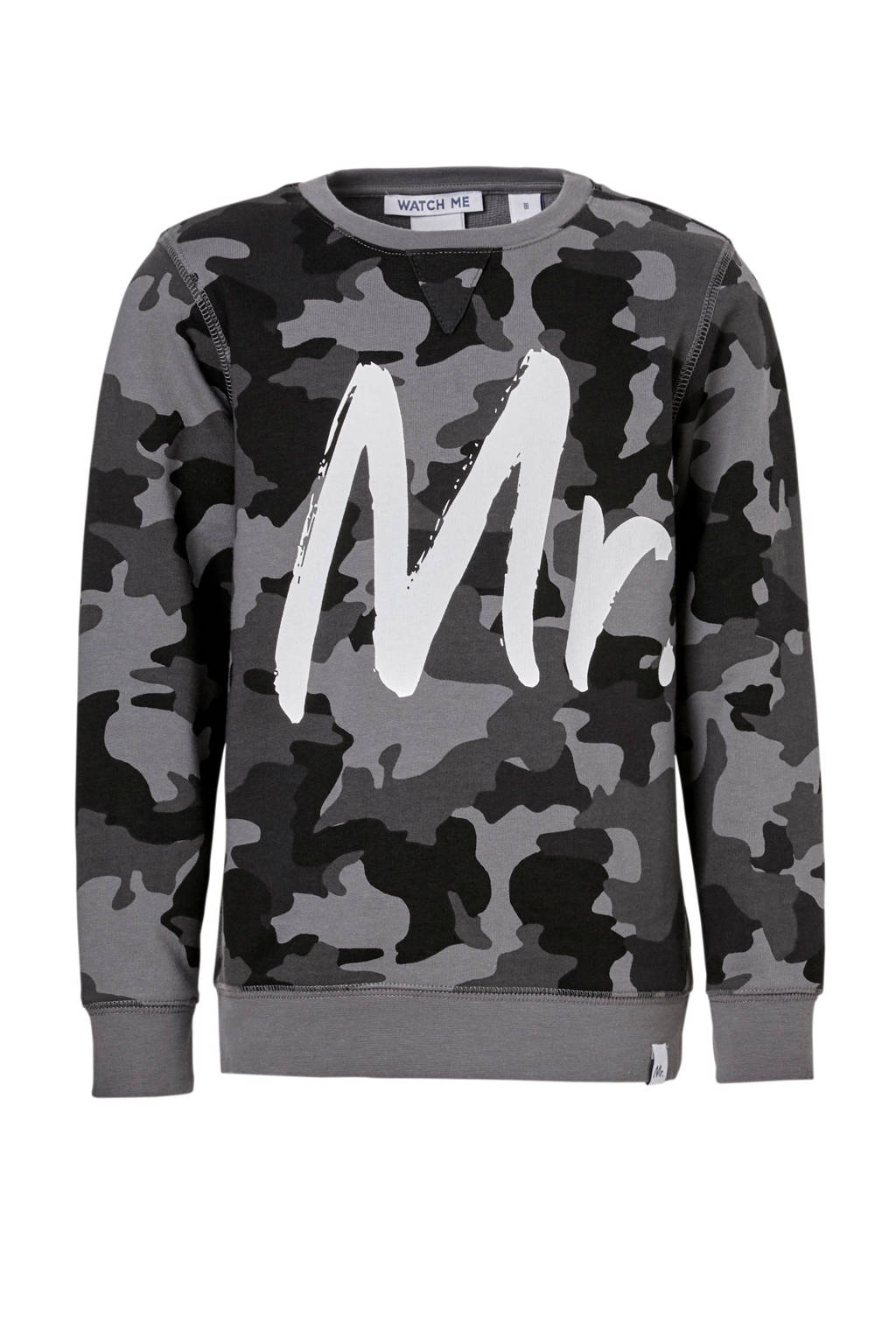 e7eb757e7d3 NIK&NIK sweater George met camouflageprint grijs, Grijs/zwart/wit