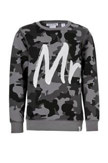 sweater George met camouflageprint grijs