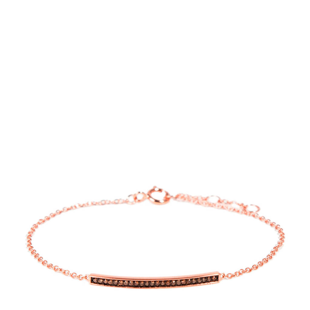 Parfois zilveren armband met zirkonia rosé, Rosé