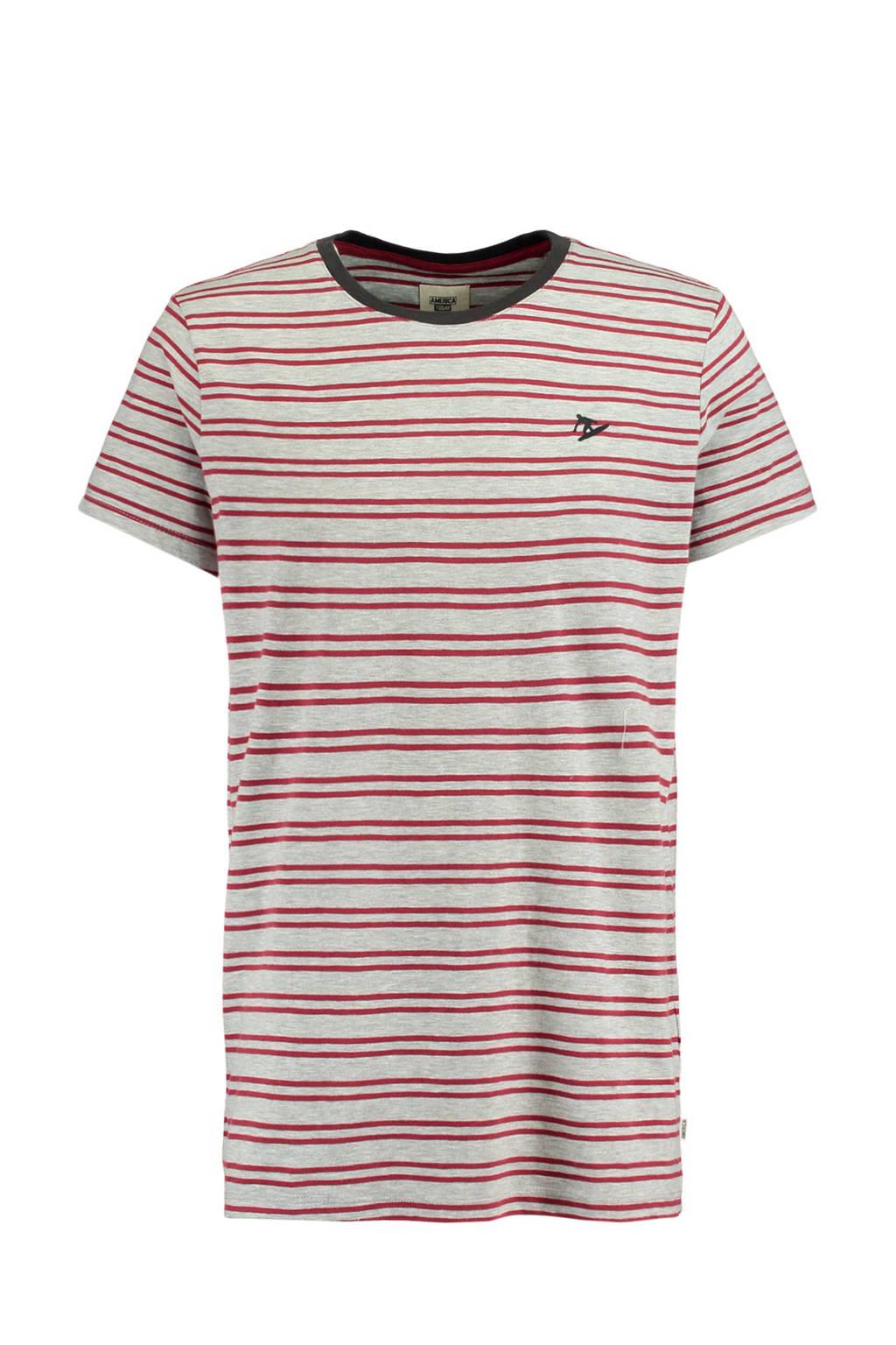 America Today gestreept T-shirt Epic grijs, Grijs/rood